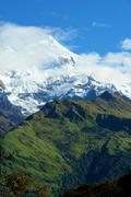 "View of ""Fish Tail"" mountain, trek to base camp Annapurna conser Stock Photos"