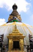 Swayambhunath stupa temple on the outskirts of Kathmandu Stock Photos