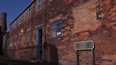 Buildings architecture old Victorian street factory and potbank Stock Footage