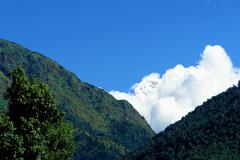 View of Annapurna mountain, trek to base camp conservation area - stock photo