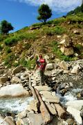 Trekkers in the Himalayan mountains, Annapurna conservation regi - stock photo