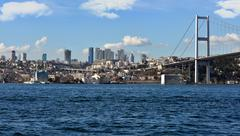 Tourism and financial center in istanbul landscape on a sunny da Stock Photos