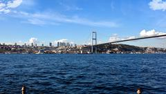 tourism and financial center in istanbul landscape on a sunny da - stock photo