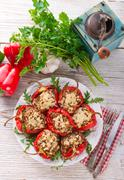 paprika with rice fullly - stock photo