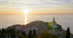 Piran is one of the three major towns of Slovenian Istria, 4K - stock footage