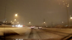 POV driving at night in the dark low visibility in winter and snow conditions. Stock Footage