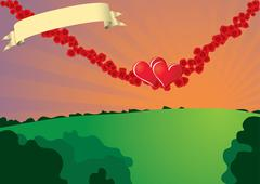 Swinging hearts on rose strings Stock Illustration
