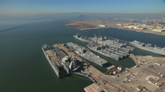 Aerial USS Hornet Museum Alameda Point San Francisco USA Stock Footage