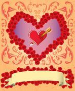Vintage Valentine card - stock illustration