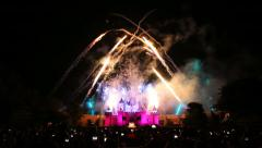 Fire Works Of Hong Kong Disneyland Stock Footage