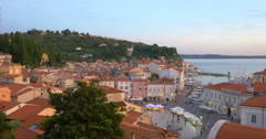 Picturesque old town Piran, Slovenia, 4K Stock Footage