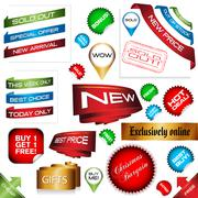 e-commerce trade shop banner set, vector illustration - stock illustration