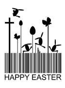 easter bar code abstract with Christian cross, eggs, rabbits and butterflies - stock illustration