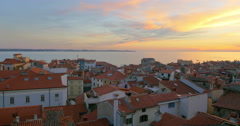 Sunset time at Piran in southwestern Slovenia on the Gulf of Piran , 4K - stock footage