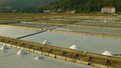 Close Aerial view of Salt Pans Stock Footage