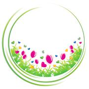Bloom Field in Circle, Ecology Spring Conceptual icon, vector illustration - stock illustration