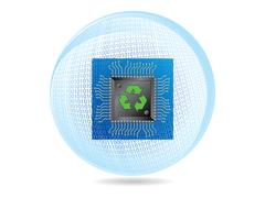 Recycling ecology binary sphere with microchip and circuit board over white Stock Illustration