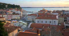 Piran Slovenia slovenia old town village aerial view Tartini square sunset roof Stock Footage