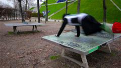 Parkour, Jump Two Ping Pong Tables Stock Footage