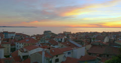 Sunset time at Piran in southwestern Slovenia on the Gulf of Piran, 4K - stock footage