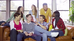 4K Portrait of cheerful casual group of young friends hanging out together Stock Footage