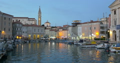 The city of Piran in southwestern Slovenia on the Gulf of Piran , 4K Stock Footage