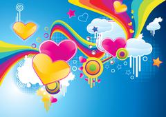 Funky styled valentine background with rainbows and hearts, vector illustration Stock Illustration