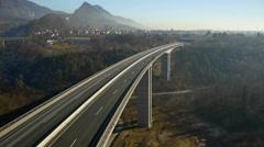 Aerial HD: Descent below Empty Highway Viaduct Stock Footage