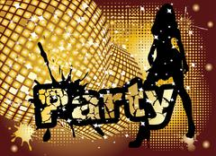 party background with big disco ball and woman silhouette dancing, vector illust - stock illustration