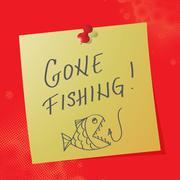 """""""gone fishing"""" handwritten message, eps10 vector illustration - stock illustration"""