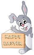 Happy Easter sign and lurking bunny - stock illustration