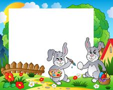 Stock Illustration of Frame with Easter bunny theme