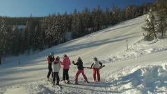 Teens girls prepares for skiing Stock Footage