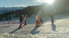 Teens girls are ready for skiing Stock Footage