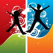 boy and girl silhouettes joyful jumping, vector illustration - stock illustration