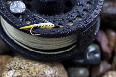 single trout fishing fly on reel - stock photo