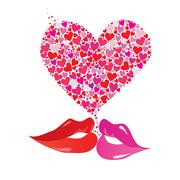 Valentines day heart floral and kissing lips design, vector illustration Stock Illustration