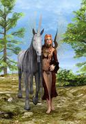Fairy and Unicorn Stock Photos