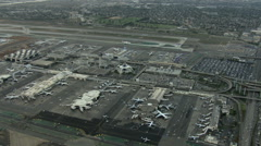 Aerials California USA Aerials LAX Los Angeles airport Stock Footage