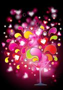 Stock Illustration of love potion with hearts and splashes, eps10 vector illustration