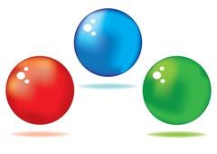 vector set of red, green and blue colored shiny spheres - stock illustration