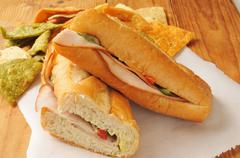 Turkey sandwich with veggie tortilla chips - stock photo