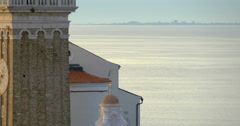 Closeup video of venetian tower and church on the hill in Piran, Slovenia, 4K Stock Footage
