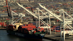 Aerial Container Port Oakland San Francisco Dock ship USA Stock Footage