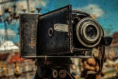 old photo with old photo camera - stock photo