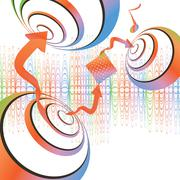 abstract music background with copy space, vector illustration - stock illustration