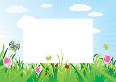 Summer meadow background template with empty space for text, vector illustration Piirros