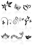 monochrome nature plant icons with reflections, vector illustration - stock illustration