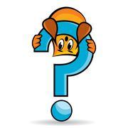 Cartoon character - blinky - upside-down on the question mark, vector illustrati Stock Illustration