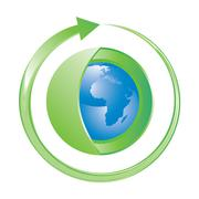earth globe wrapped in green with clockwise arrow, vector illustration - stock illustration